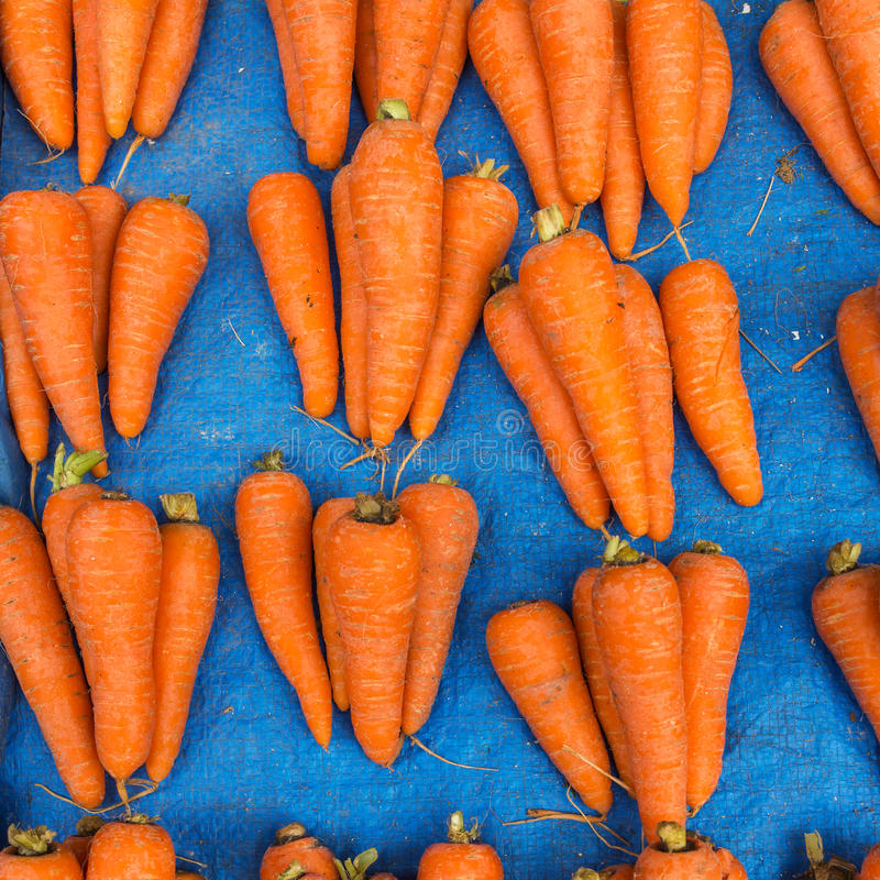 Verse wortelpartijen op de markt stock foto