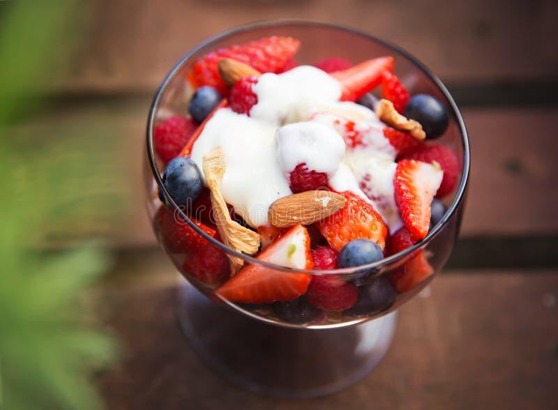 Verse yoghurt met vruchten en muesli voor ontbijt royalty-vrije stock afbeelding