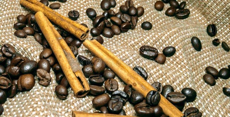Verse zwarte coffebonen op cork lijst stock foto