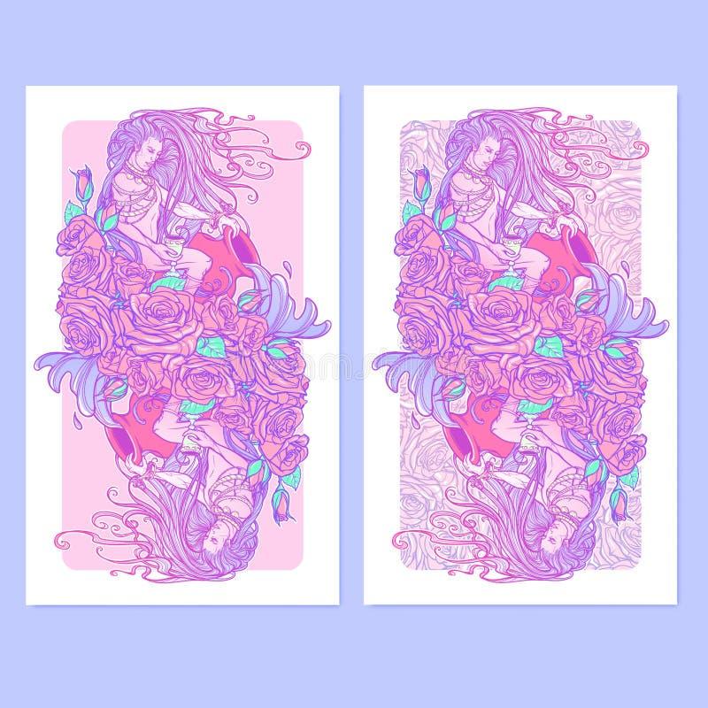 Verseau de signe de zodiaque Beau jeune homme avec de longs cheveux tenant la grande amphore Drapeaux verticaux illustration stock