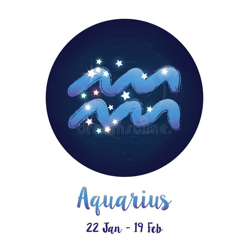 Verseau de signe de zodiaque dans l'espace cosmique d'étoiles avec l'icône de constellation de Verseau Ciel nocturne étoilé à l'i illustration stock