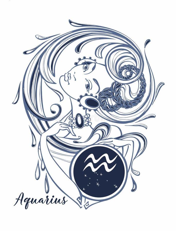Verseau de signe de zodiaque une belle fille horoscope astrologie Vecteur illustration libre de droits