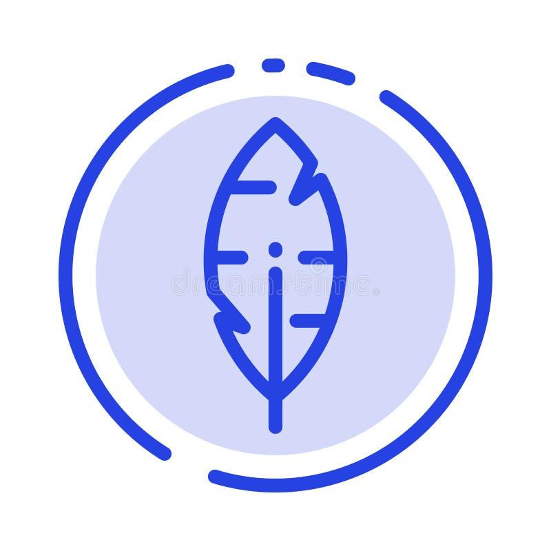 Versehen Sie mit Federn, schwärzen Sie mit Tinte, schreiben Sie Linie Ikone der blauen punktierten Linie lizenzfreie abbildung