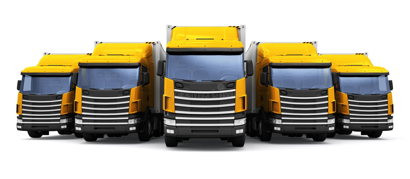 Versenden, Logistik und Lieferungsgeschäftsverkaufskonzept: 3D übertragen Illustration der Reihe gelber Frachtanhänger Rucks lizenzfreie abbildung