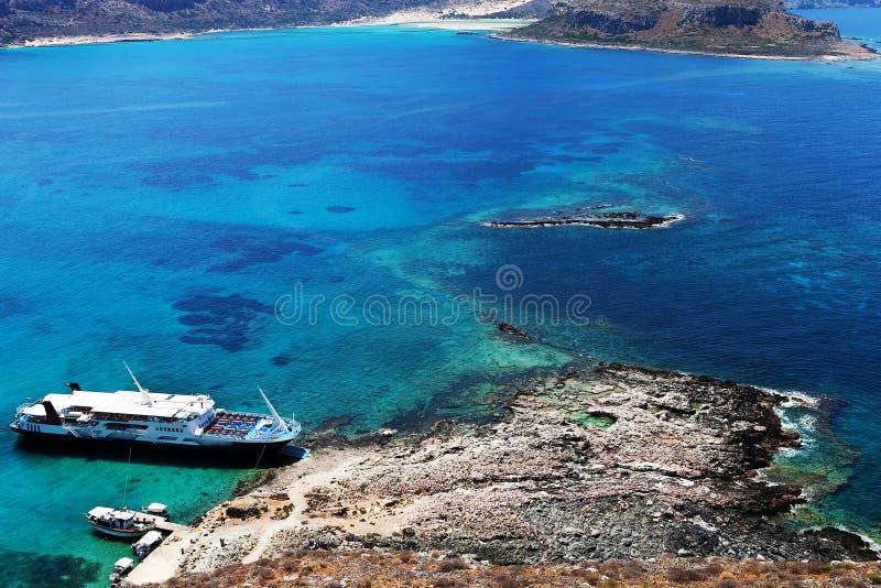 Versenden Sie auf dem Ufer von einer Insel in Griechenland lizenzfreies stockbild