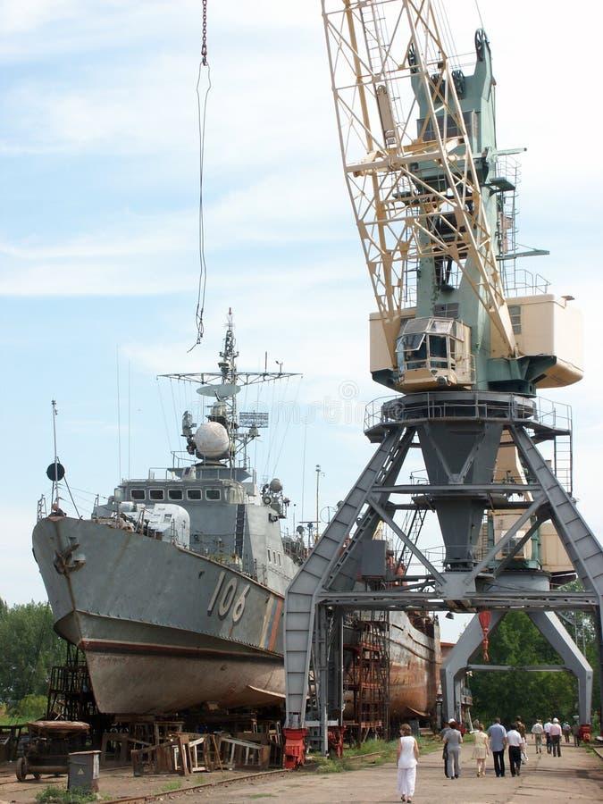 Versenden Sie im Dock, Astrakhan, Russland stockbilder