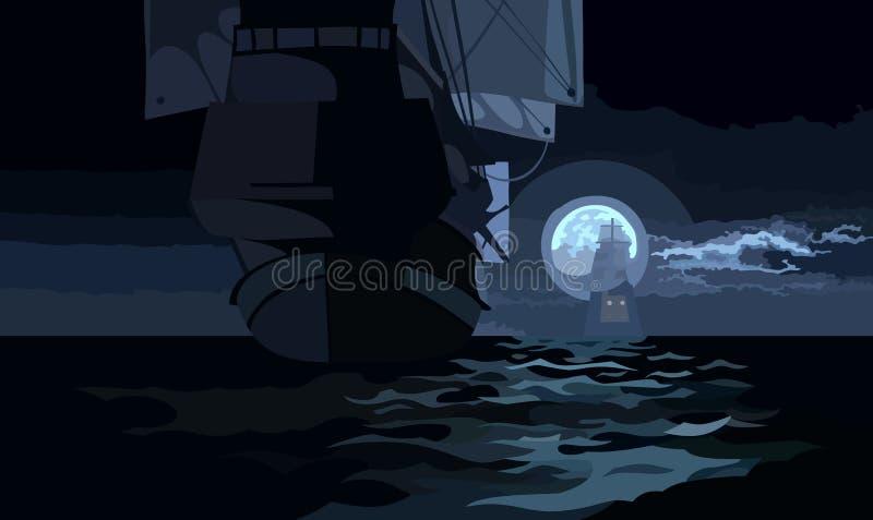 Versenden Sie mit Segeln auf einer mondbeschienen Nacht auf dem Meer lizenzfreie abbildung