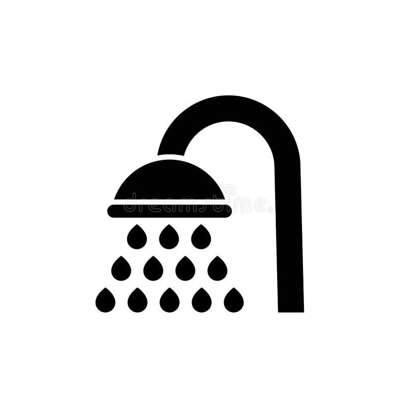 Versez l'icône de vecteur, symbole plat rempli de douche illustration stock