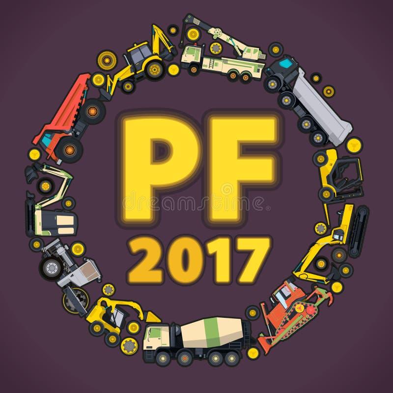 Versez la félicité 2017 L'ensemble de la terre fonctionne des véhicules de machines Bonne année, équipement de bâtiment de constr illustration de vecteur