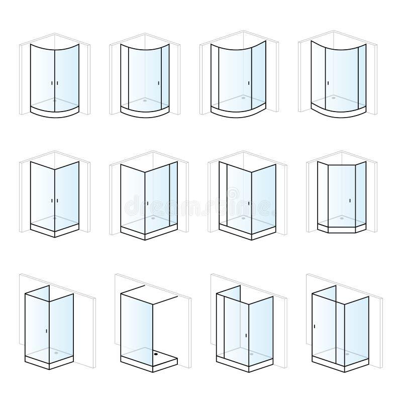 Versez les clôtures, installation et montage de salle de bains de piscine de barbotage de haute illustration de vecteur