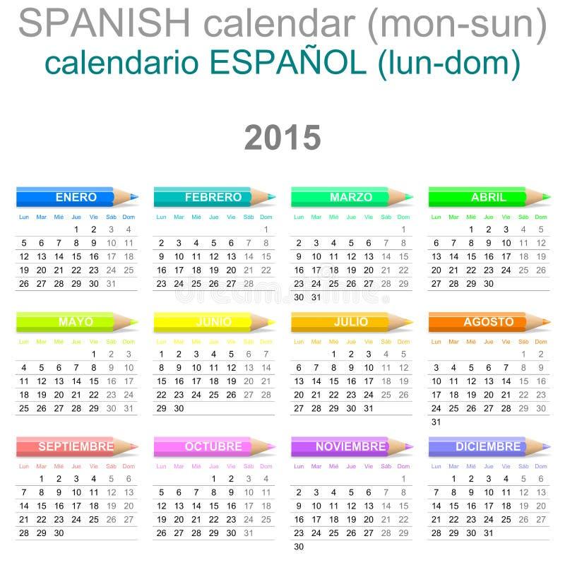 Versión de 2015 de los creyones españoles del calendario ilustración del vector