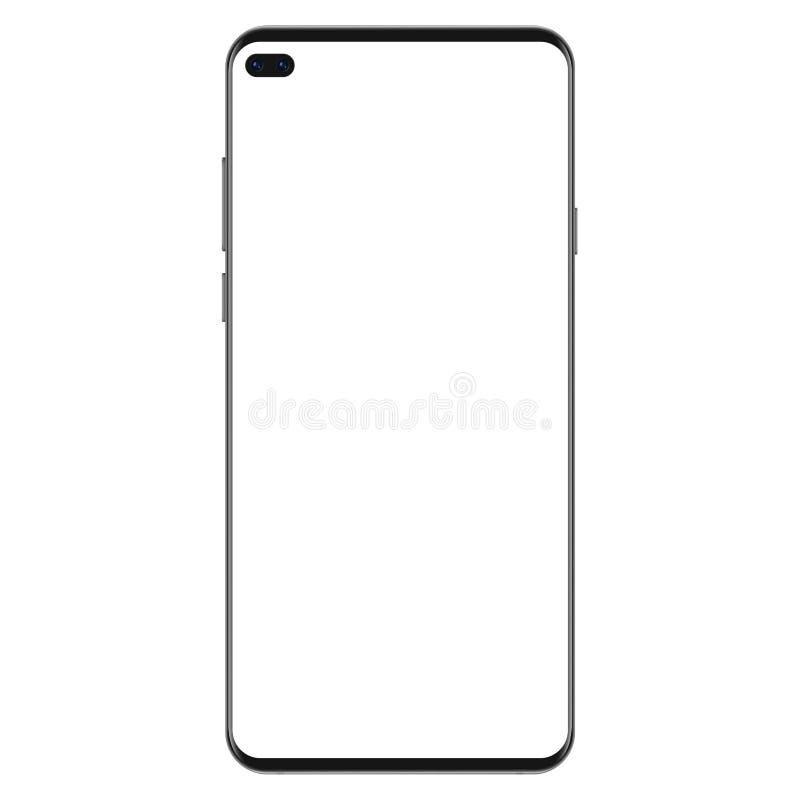 Versión de la nueva generación de realista delgado negro ningún smartphone del marco con el ejemplo blanco en blanco del vector d libre illustration