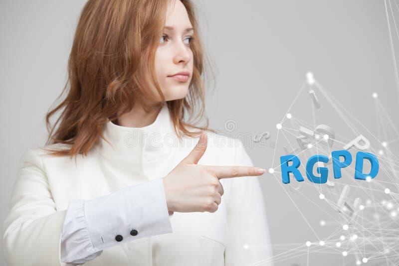 Versión de RGPD, del español, francesa e italiana de la versión de GDPR: Datos de Reglamento General de Proteccion de Datos gener foto de archivo