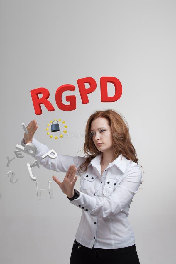 Versión de RGPD, del español, francesa e italiana de la versión de GDPR: Datos de Reglamento General de Proteccion de Datos gener fotos de archivo