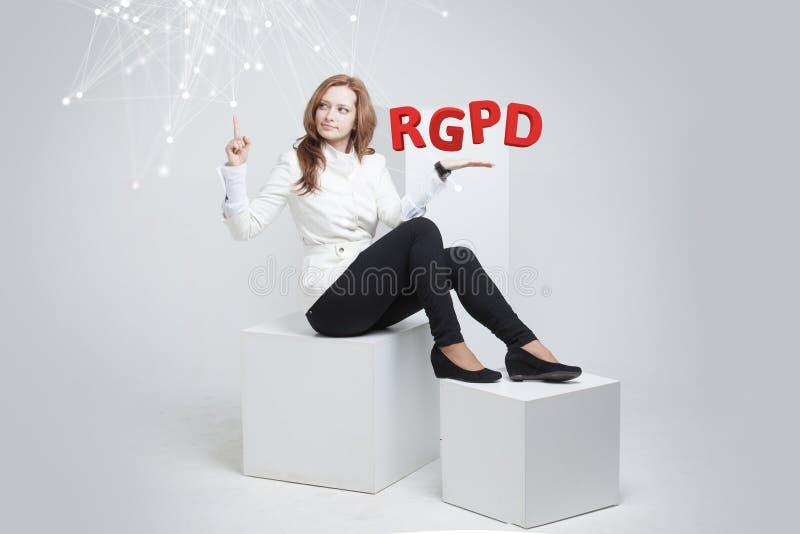 Versión de RGPD, del español, francesa e italiana de la versión de GDPR: Datos de Reglamento General de Proteccion de Datos gener fotografía de archivo libre de regalías