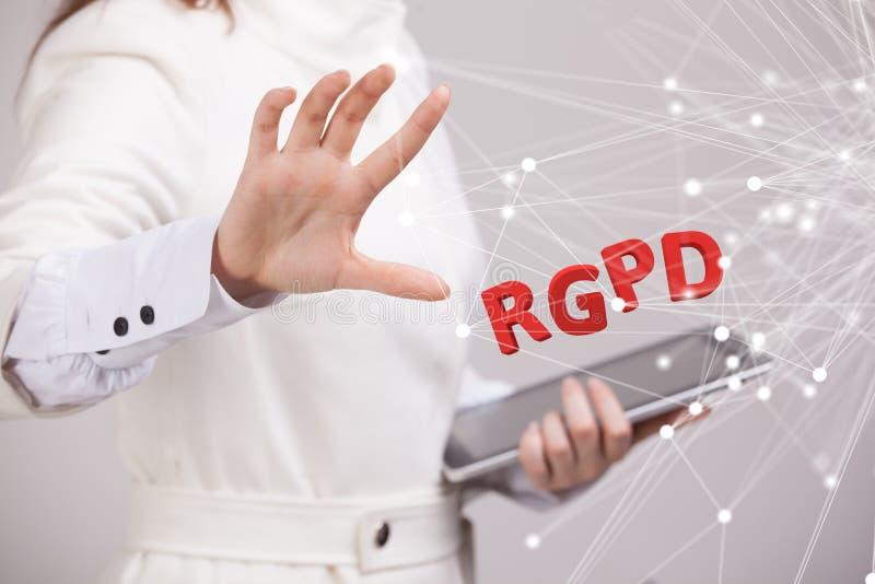Versión de RGPD, del español, francesa e italiana de la versión de GDPR: Datos de Reglamento General de Proteccion de Datos gener imagen de archivo libre de regalías