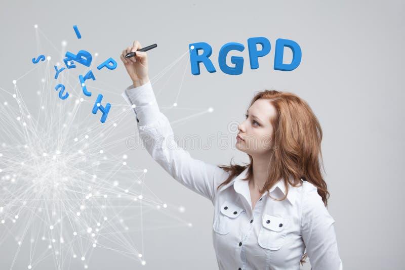 Versión de RGPD, del español, francesa e italiana de la versión de GDPR: Datos de Reglamento General de Proteccion de Datos gener imágenes de archivo libres de regalías