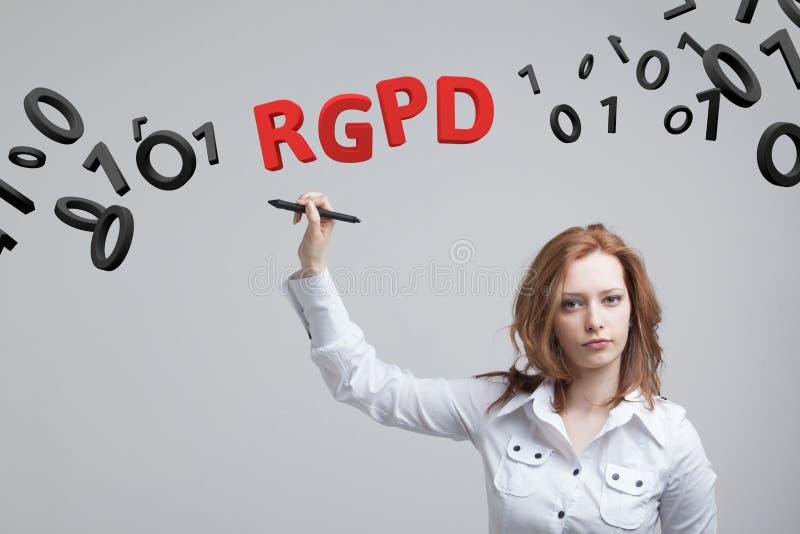 Versión de RGPD, del español, francesa e italiana de la versión de GDPR: Datos de Reglamento General de Proteccion de Datos gener foto de archivo libre de regalías