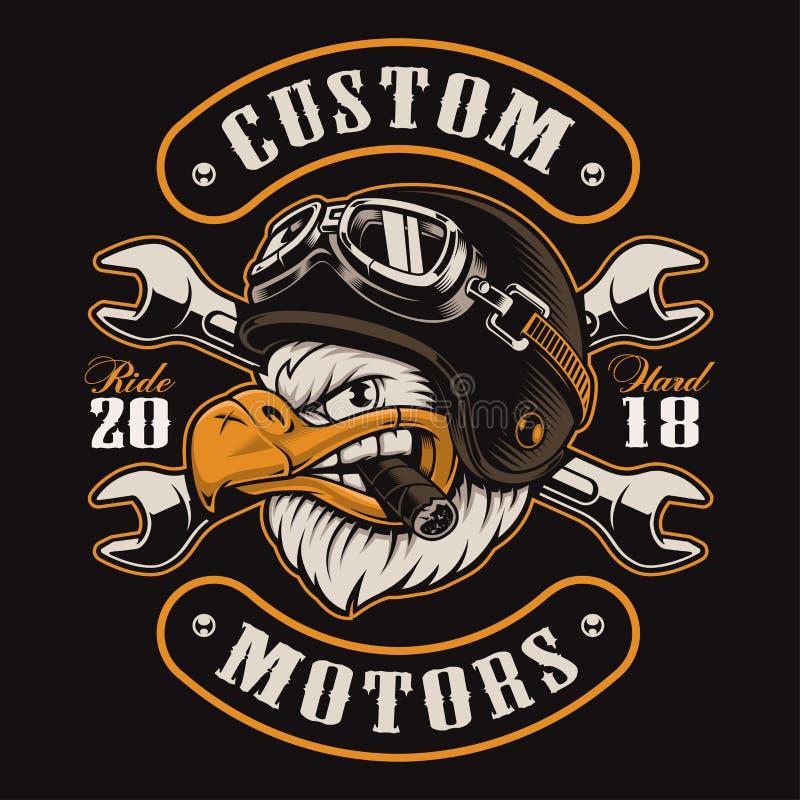 Versión del color del diseño de la camiseta del motorista de Eagle libre illustration