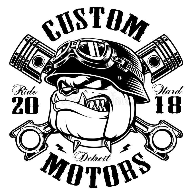 Versión del monocromo del diseño de la camiseta del motorista del dogo del motorista libre illustration