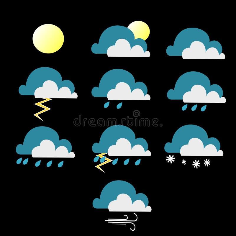 Versión llana del color de las diversas condiciones meteorológicas stock de ilustración