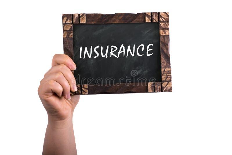 Versicherung auf Tafel stockfotos