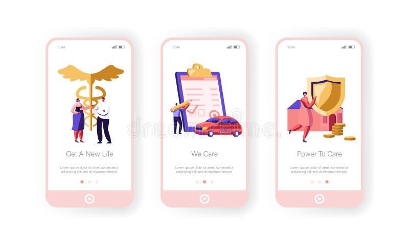 Versicherung bewegliche App-Seite an Bord des Schirm-Satz-, Eigentums-, Auto-und Gesundheitsschutz-Papier-Zeichens, Geld-Garantie stock abbildung