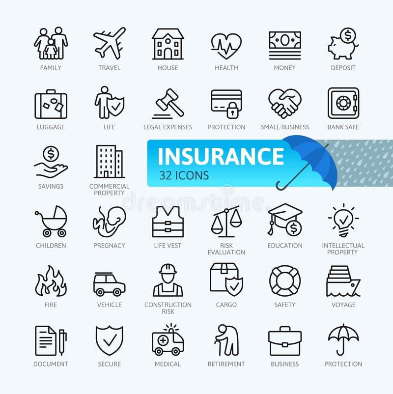 Versicherung - dünne Linie Netzikonensatz stock abbildung