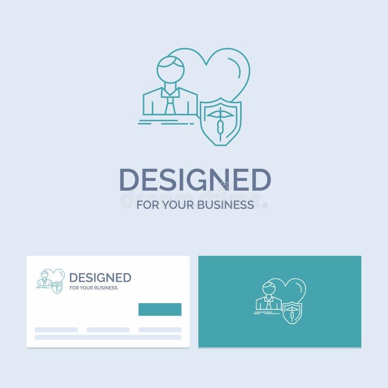 Versicherung, Familie, Haus, schützen sich, Herz Geschäft Logo Line Icon Symbol für Ihr Geschäft T?rkis-Visitenkarten mit Markenl vektor abbildung