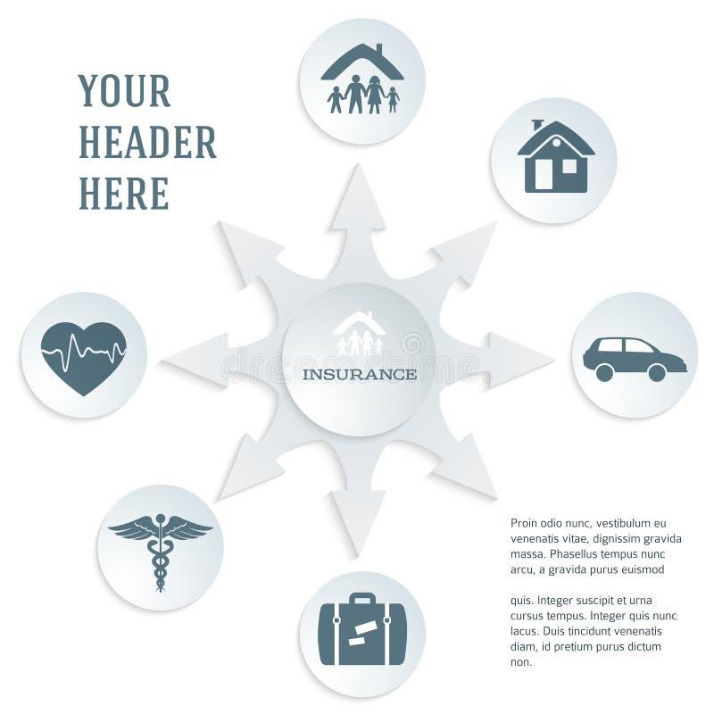 Versicherung-Service-Konzept-auf-weiß-Hintergrund-grau-Text-Karte stock abbildung