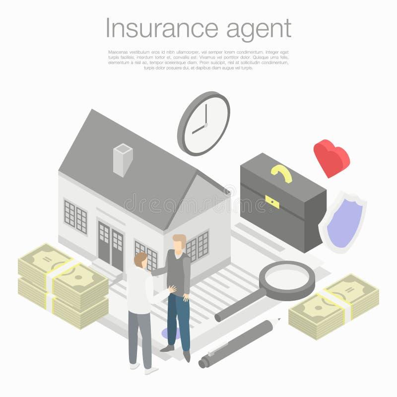 Versicherungsagent-Konzepthintergrund, isometrische Art lizenzfreie abbildung