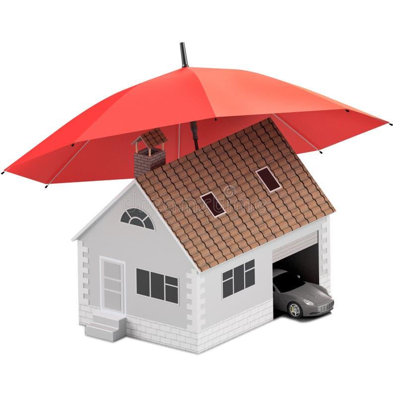 Versicherungshaus, Haus, Leben, Autoschutz Kaufendes Haus und Auto für Familienikone Schützen Sie Leute Konzepte Abbildung 3D iko vektor abbildung