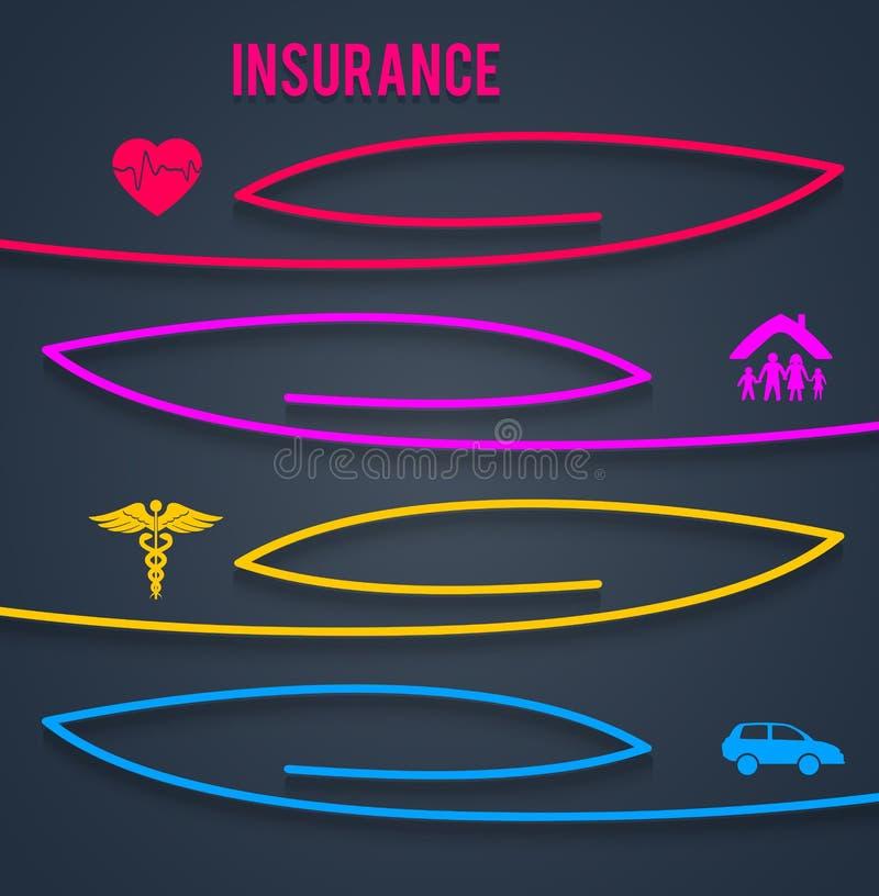 Versicherungskonzept-Abdeckungshintergrund, der brochure08 annonciert lizenzfreie abbildung