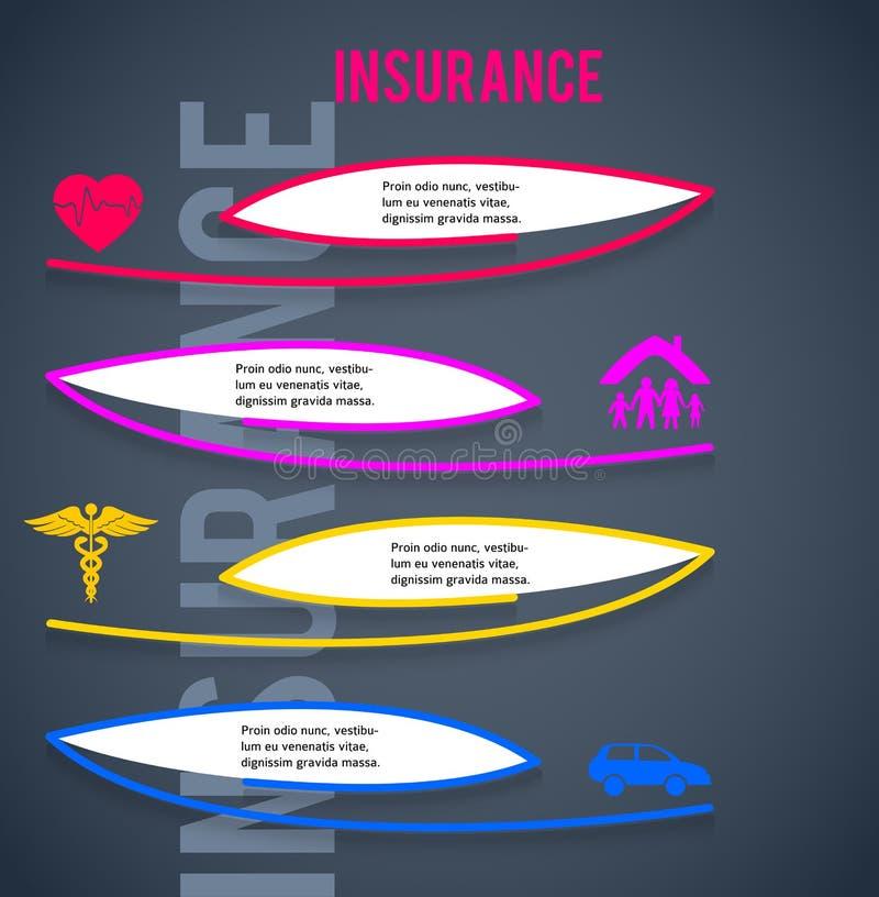 Versicherungskonzept-Abdeckungshintergrund, der brochure10 annonciert lizenzfreie abbildung