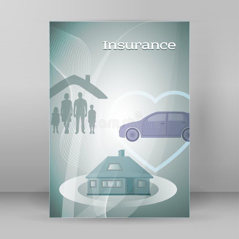 Versicherungskonzept-Abdeckungshintergrund, der brochure06 annonciert stock abbildung