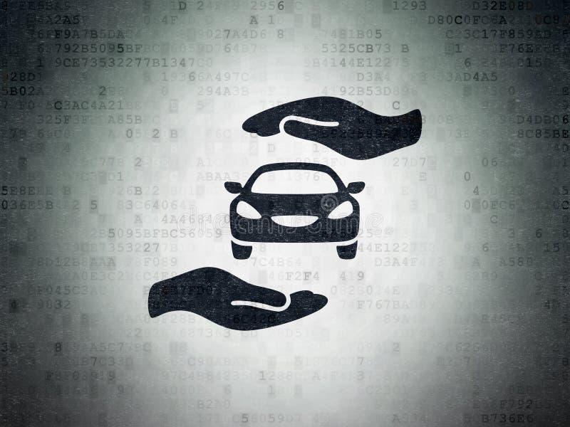 Versicherungskonzept: Auto und Palme auf Digital-Daten tapezieren Hintergrund stock abbildung