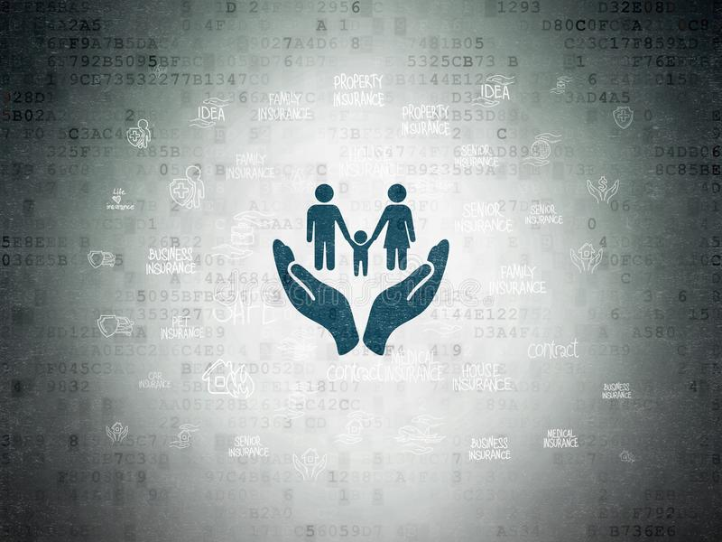Versicherungskonzept: Familie und Palme auf Digital-Daten tapezieren Hintergrund vektor abbildung
