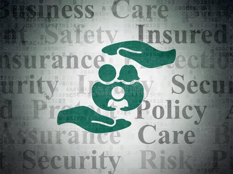 Versicherungskonzept: Familie und Palme auf Digital-Daten tapezieren Hintergrund lizenzfreie abbildung