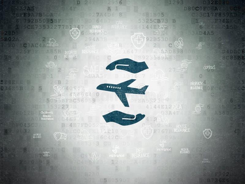Versicherungskonzept: Flugzeug und Palme auf Digital-Daten tapezieren Hintergrund vektor abbildung