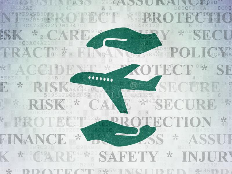 Versicherungskonzept: Flugzeug und Palme auf Digital-Daten tapezieren Hintergrund lizenzfreie abbildung