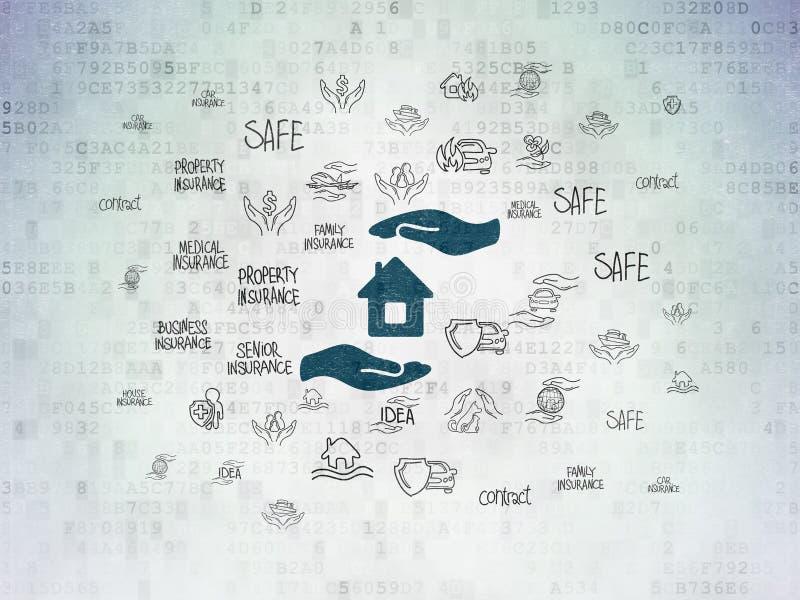 Versicherungskonzept: Haus und Palme auf Digital-Daten tapezieren Hintergrund stock abbildung