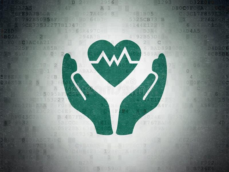 Versicherungskonzept: Herz und Palme auf Digital-Daten tapezieren backgrou vektor abbildung