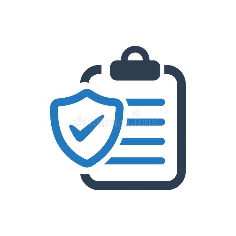 Versicherungspolice-Ikone lizenzfreie abbildung