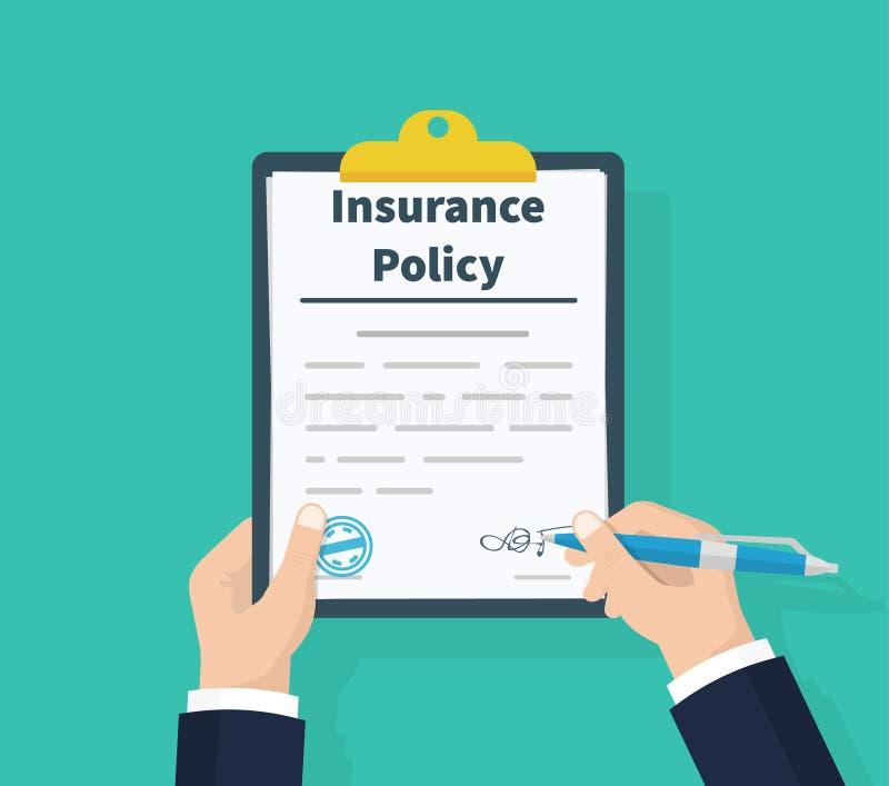 Versicherungspolice Klemmbrett in der Hand halten Mannunterzeichnungsform Antragsformular Dokumentenschutzeigentum analysieren stock abbildung