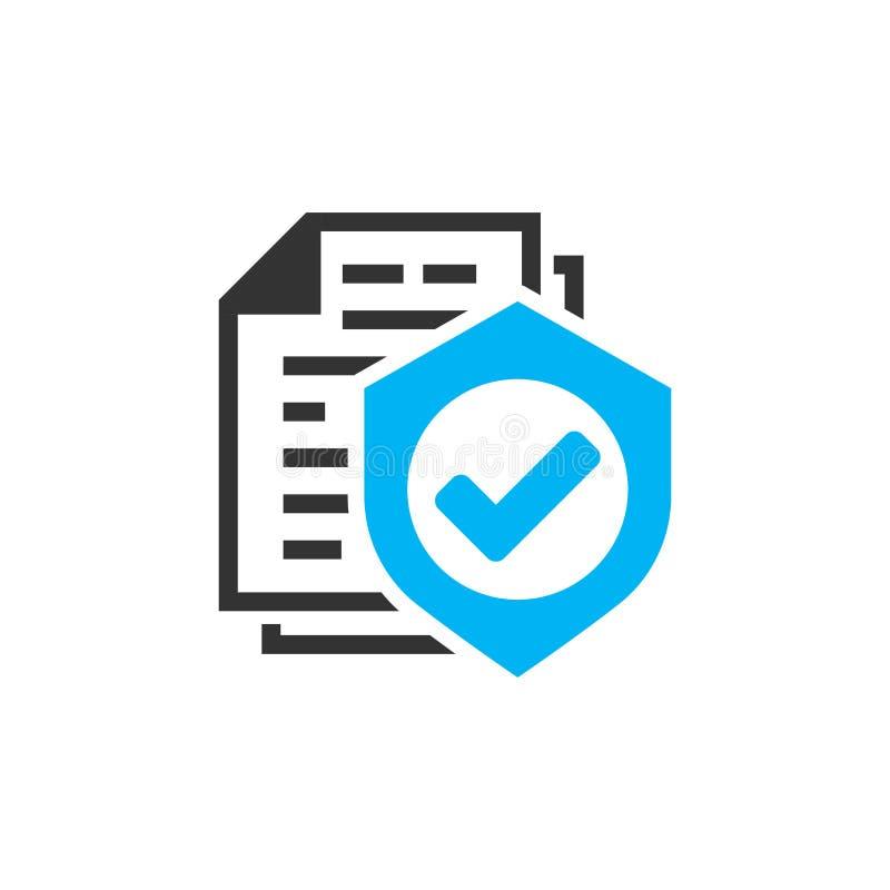 Versicherungspoliceikone in der flachen Art Berichtsvektorillustration auf weißem lokalisiertem Hintergrund Dokumentengeschäftsko lizenzfreie abbildung