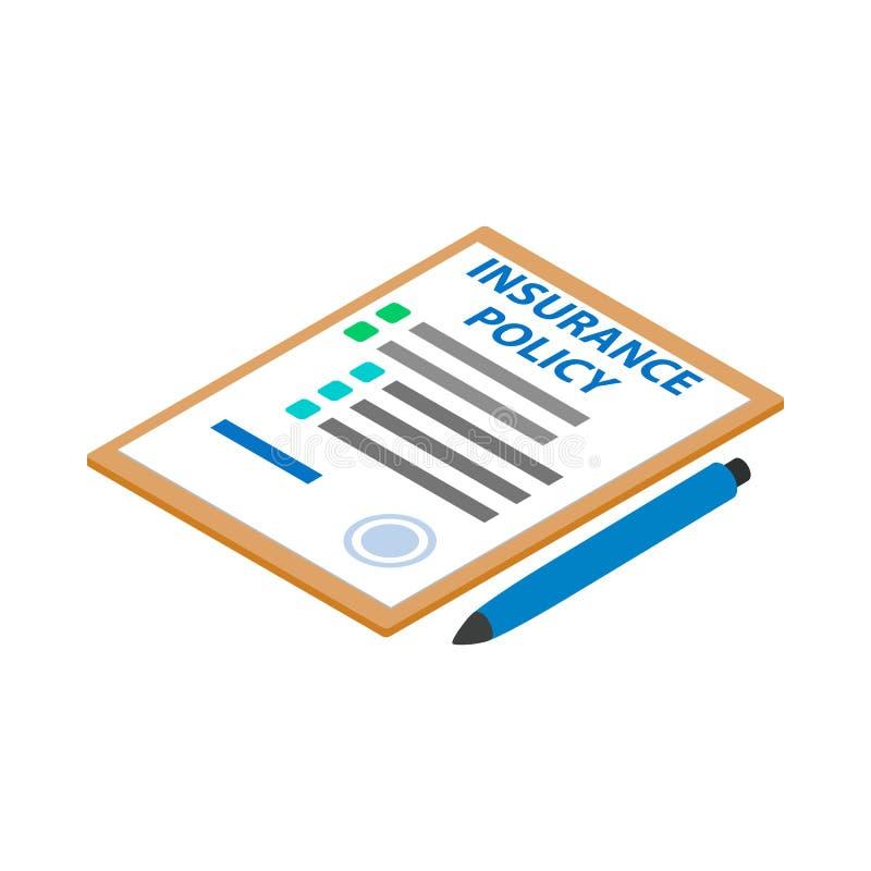 Versicherungspoliceikone, isometrische Art 3d lizenzfreie abbildung
