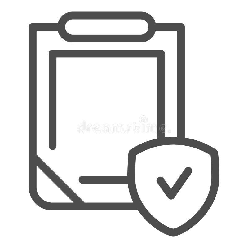 Versicherungspolicelinie Ikone Klemmbrett mit der Schildvektorillustration lokalisiert auf Weiß Sicherheitsdokumenten-Entwurfsart stock abbildung