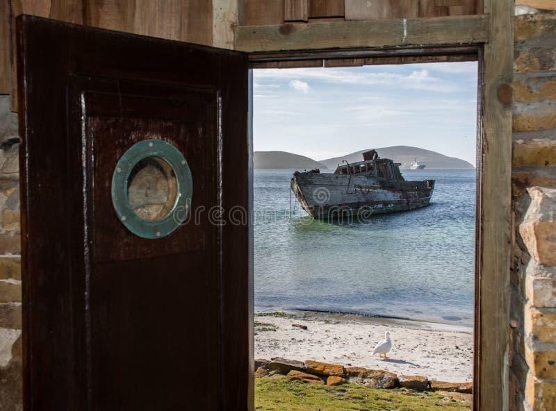 Versiegelnder Schiff Schutz III auf dem Strand von neuen Inseln, Falkland Islands lizenzfreie stockfotos