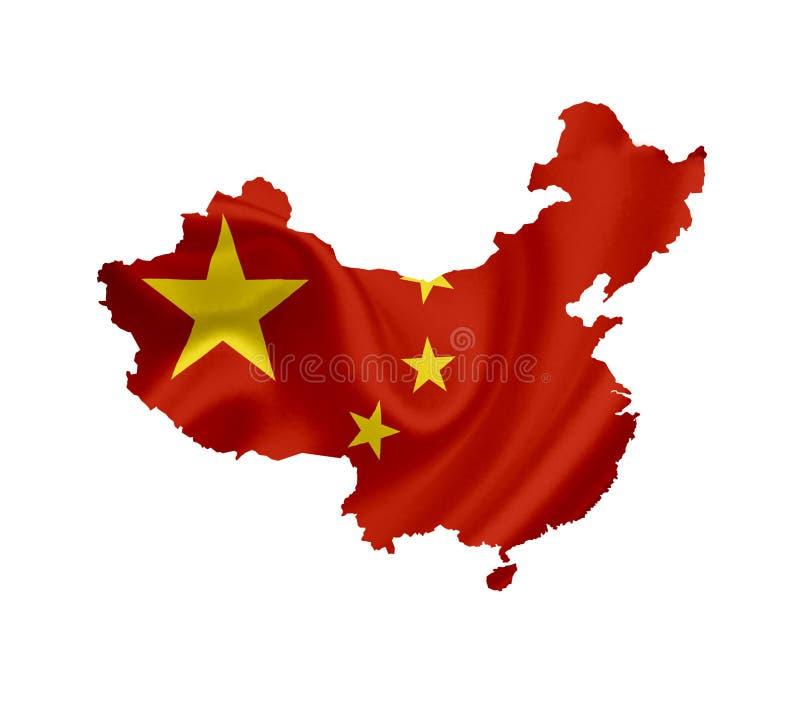 ?versikt av Kina med den vinkande flaggan som isoleras p? vit arkivfoton