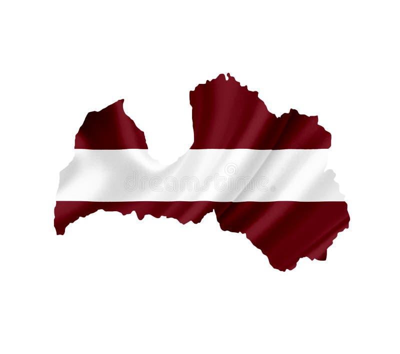 ?versikt av Lettland med den vinkande flaggan som isoleras p? vit arkivfoto